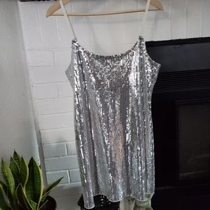Intimately Free People Silver Sequined Blouse